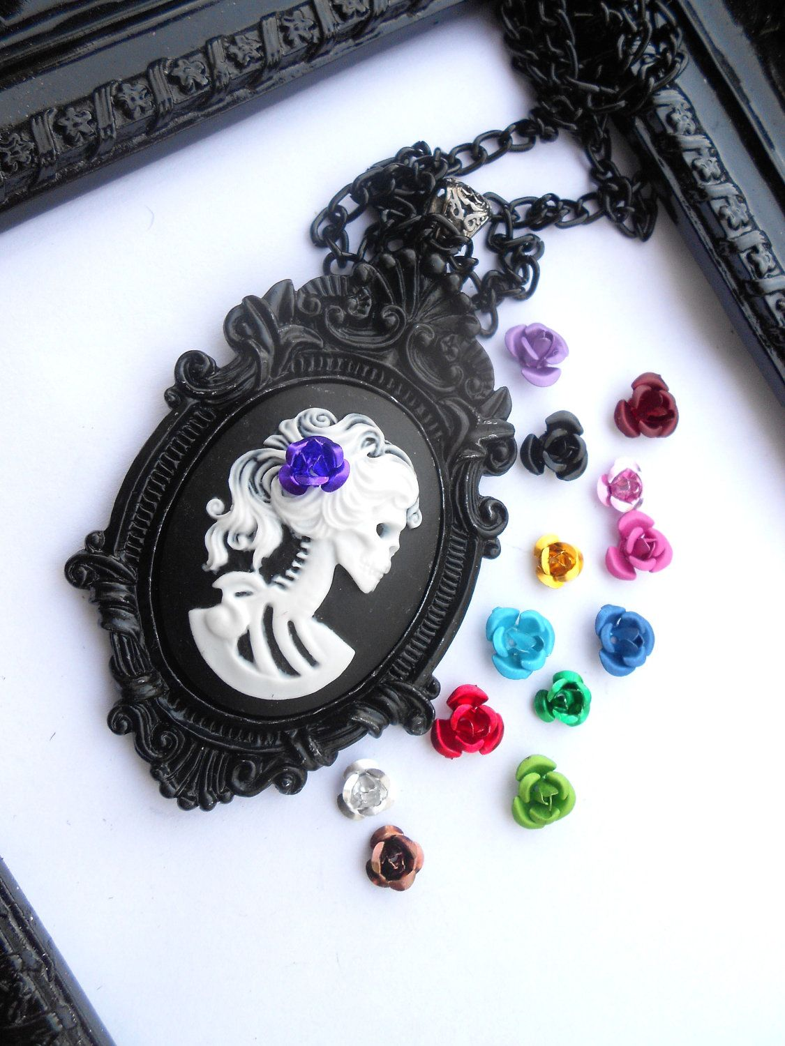 Lolita Purple Skeleton Cameo Baroque Necklace, via Etsy.