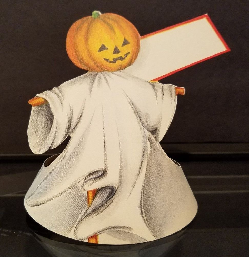 Vintage Halloween Folding Place Card Is It A Jack O Lantern Ghost Scarecrow