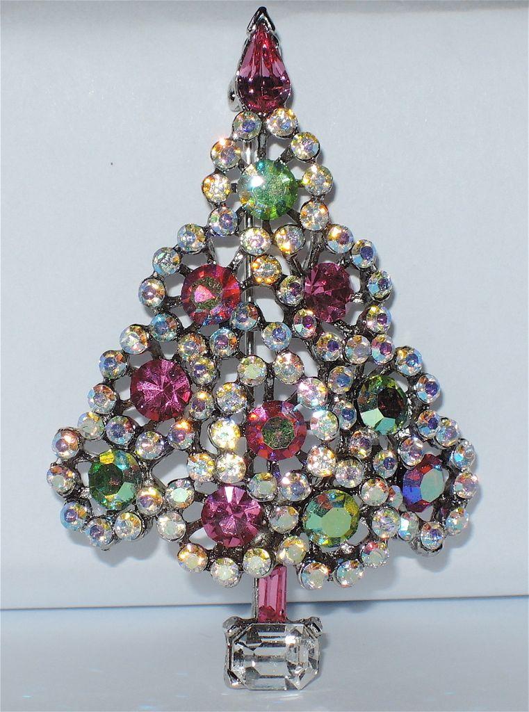 Lisner Pin Green Ab Rhinestone Christmas Tree Pin Jewelry Christmas Tree Christmas Bling Walmart Jewelry