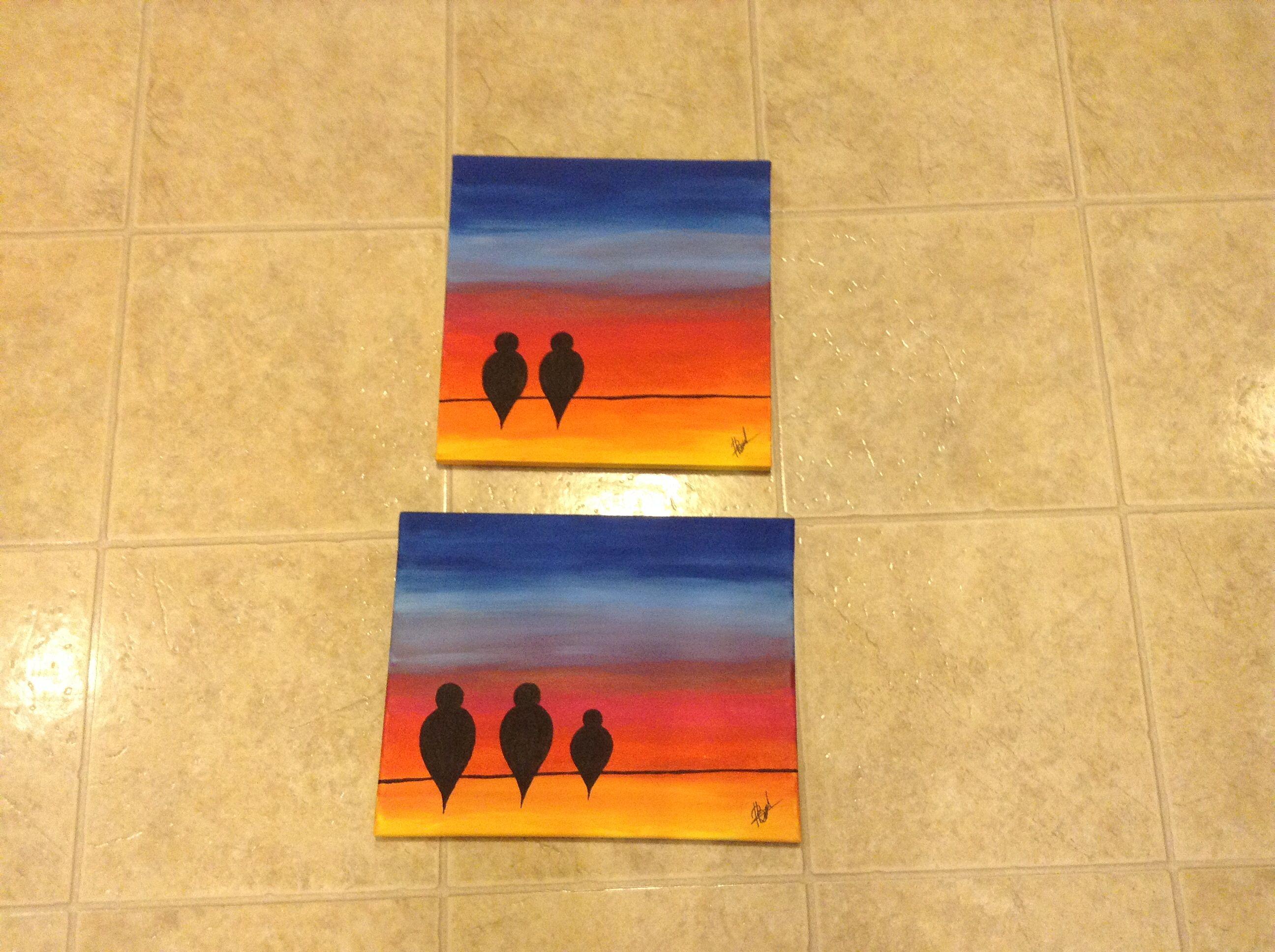 Birds on Sunset - acrylic painting