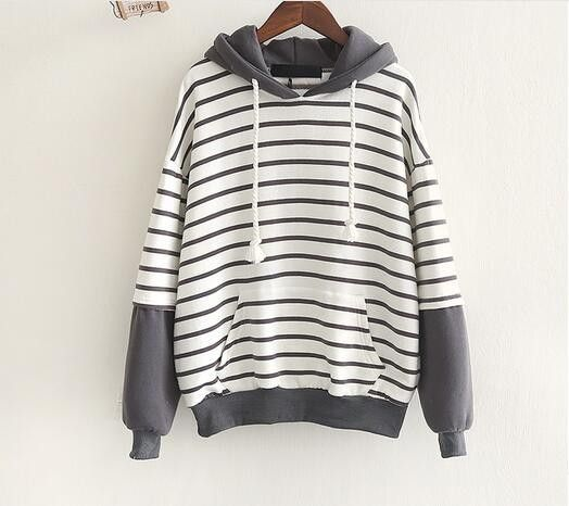Ragged sleeve stitching hooded jacket plus flannel sweater autumn mori girl