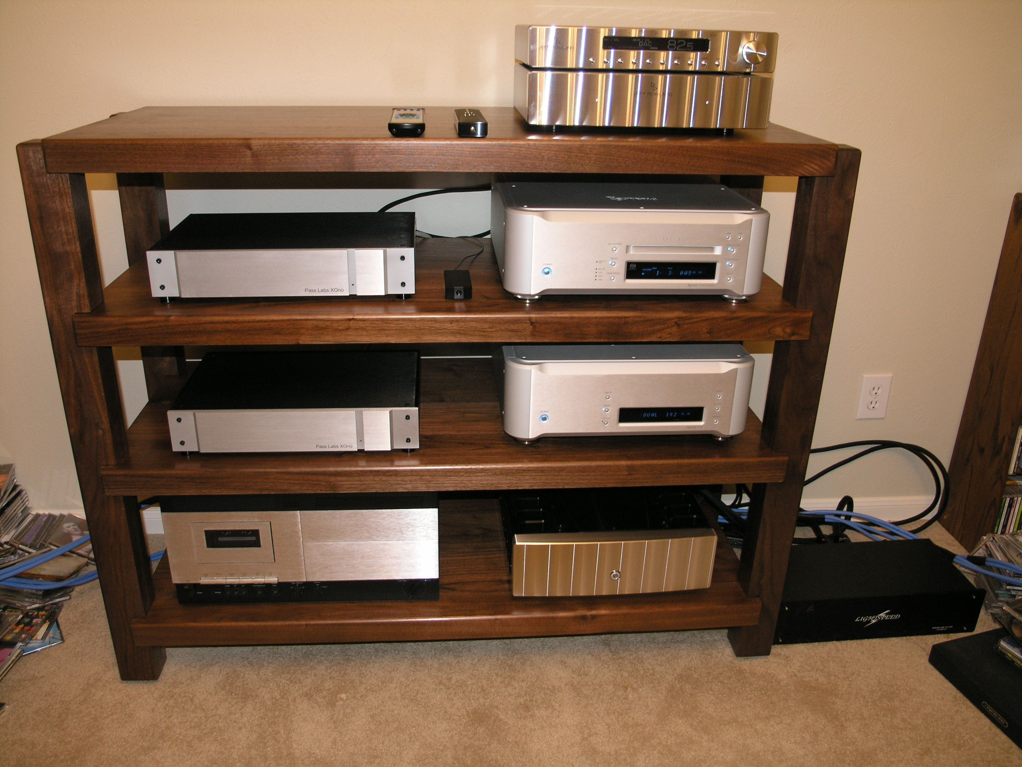 Timbernation rack, walnut Stereo Audio room