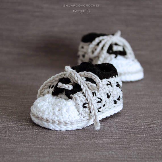 Crochet PATTERN baby sneakers with cheetah print | Zapatillas bebe ...