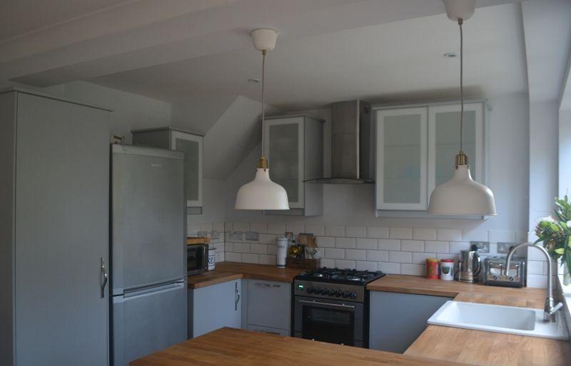 Kitchen renovation reveal ikea veddinge grey kitchen with for Grey kitchen white worktop