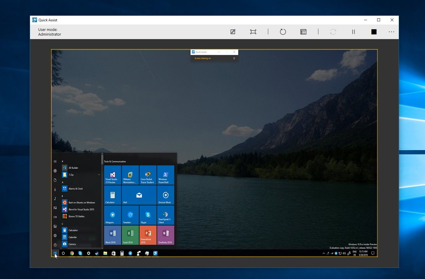Quick Assist Remote Desktop App: available to Win10