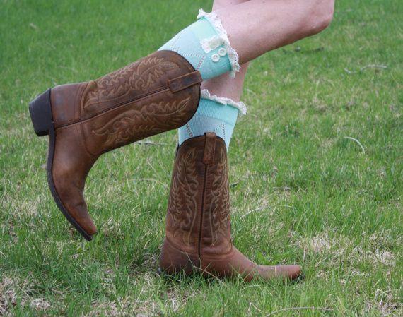 Mint Women's  Button Knit Boot Socks Cowboy by ColoradoChickCo, $11.00