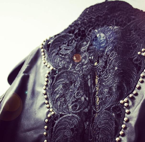 Lace in the back of the jacket Amanda #leatherjacket #lace