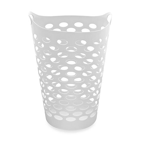 Tall Plastic Laundry Basket Enchanting Starplast Tall Flex Laundry Basket In White  Laundry Apartments Design Decoration