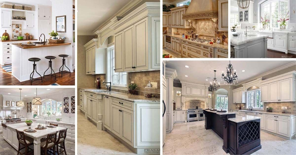 32 Best Antique White Kitchen Cabinets For 2021 Decor Home Ideas Antique White Kitchen Antique White Kitchen Cabinets Shabby Chic Kitchen Cabinets