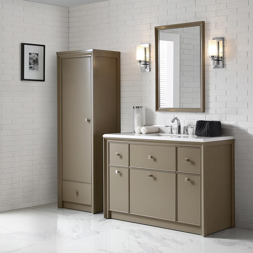 Martha Stewart Living Parrish 48 In W X 22 In D Vanity In Mushroom With Marble Top In Yves White With White Main Bathroom Ideas Frames On Wall Hanging Frames