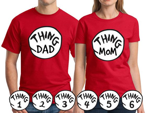 72344e2f Mens Thing Dad Womens Thing Mom and Thing 1, 2, 3, 4, 5, 6 T-shirts. Mens…