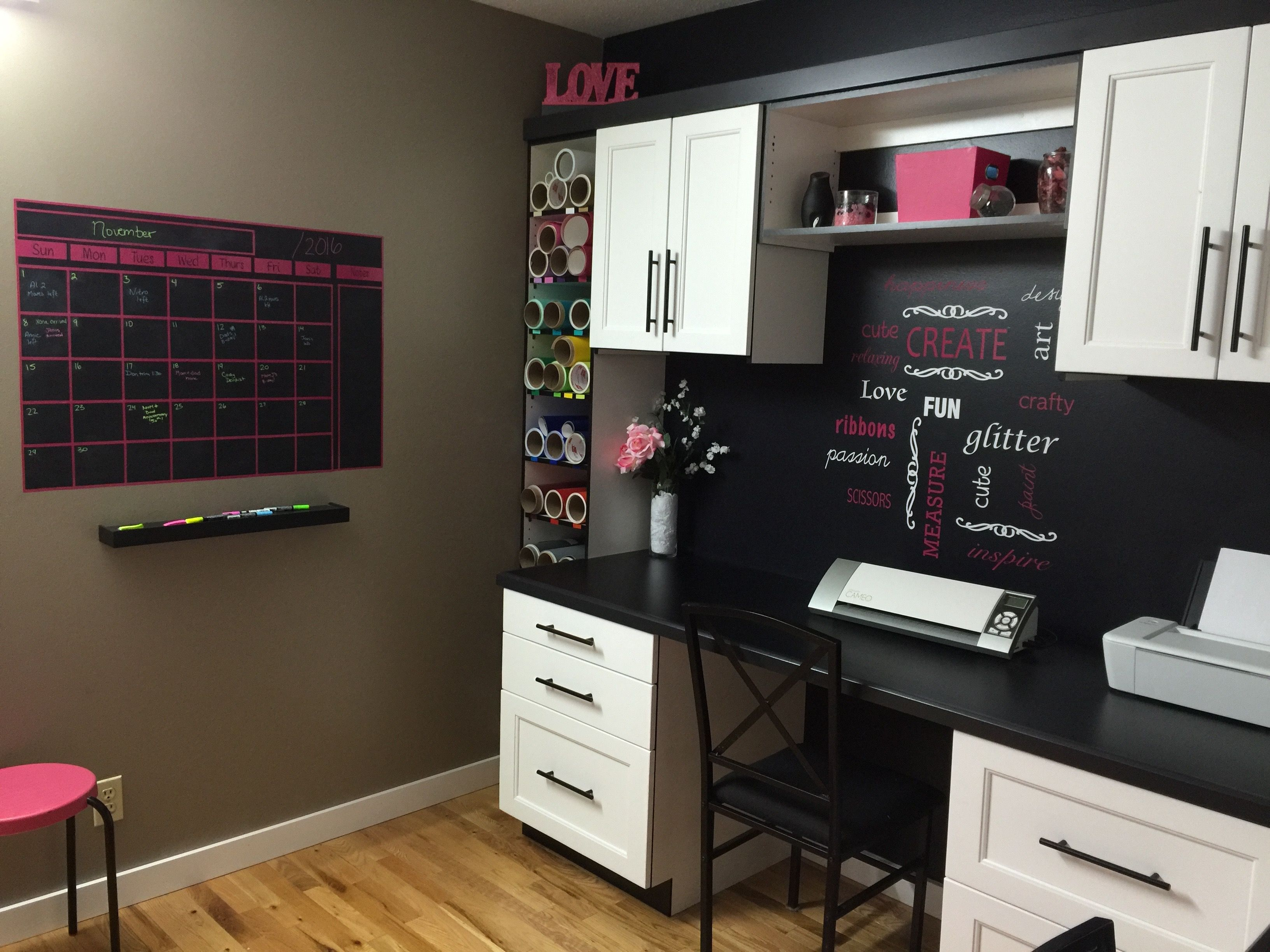 Craft Room Built In Black And White With Pink Accents White Craft Room Sewing Room Design Craft Room