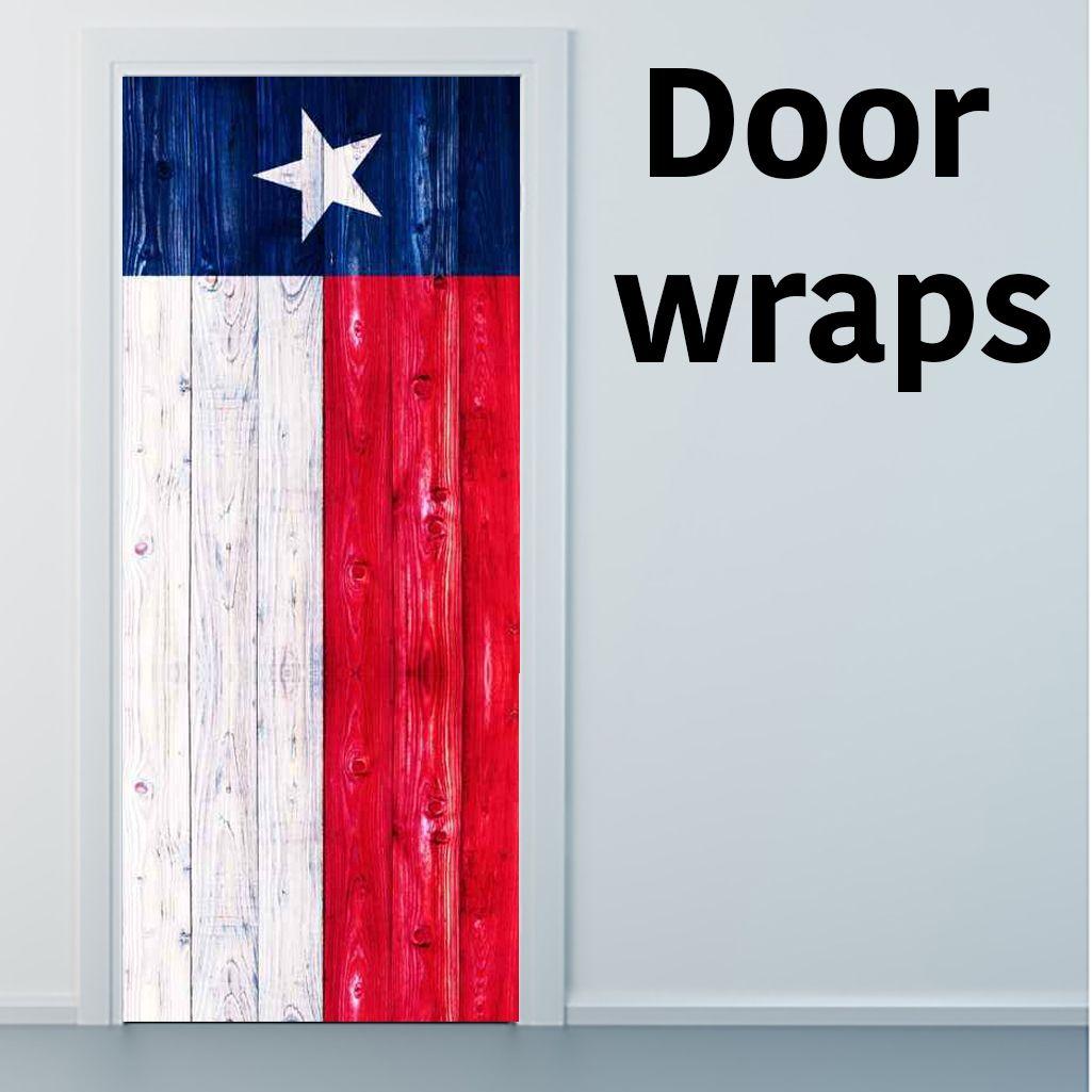 Texas Wooden Flag Door Wrap