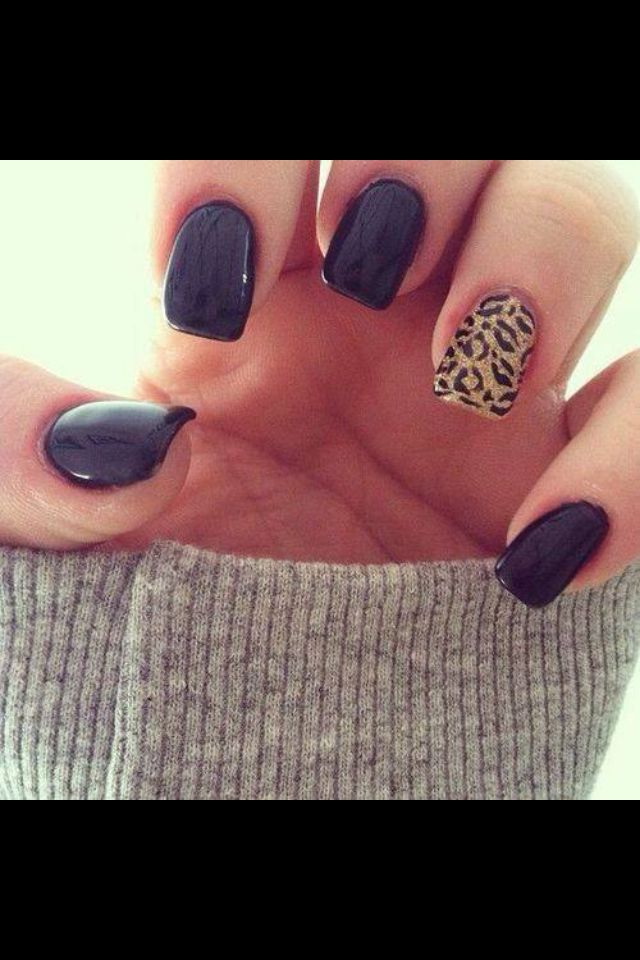 Black leopard nail art | Nails | Pinterest | Leopard nail art ...