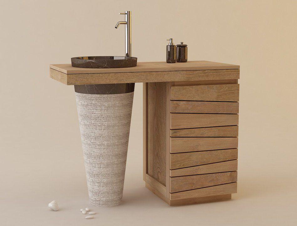 Muebles de ba os en madera de teca serie lavamanos - Muebles de madera teca ...