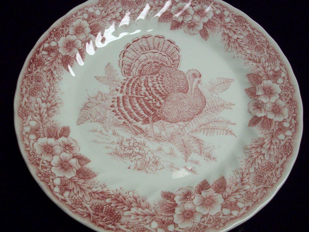 Dinnerware & Queens China Thanksgiving Red Turkey 10u201d Dinner Plate | DINNER ...