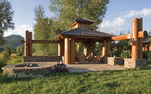 A custom log gazebo completed outdoor living spaces for Rustic gazebo kits