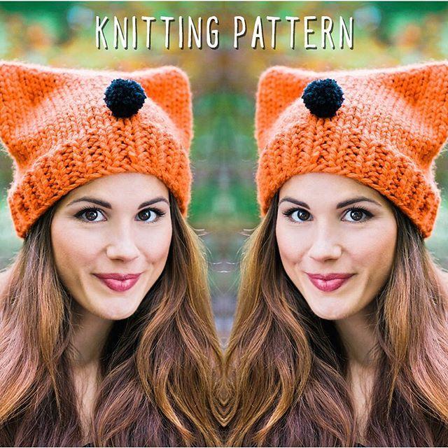 a66afa538b7 The Foxy Lady knitting pattern makes the cutest animal ear beanie hat.  Simple knitting pattern