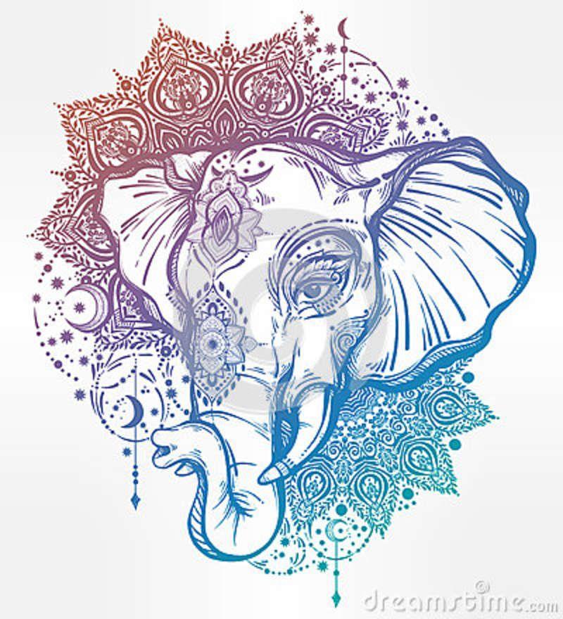Elephant Mandala Tattoo Tattoos T Tatuajes Elefantes Y: Decorative Elephant With Tribal Mandala Ornament.. Photo