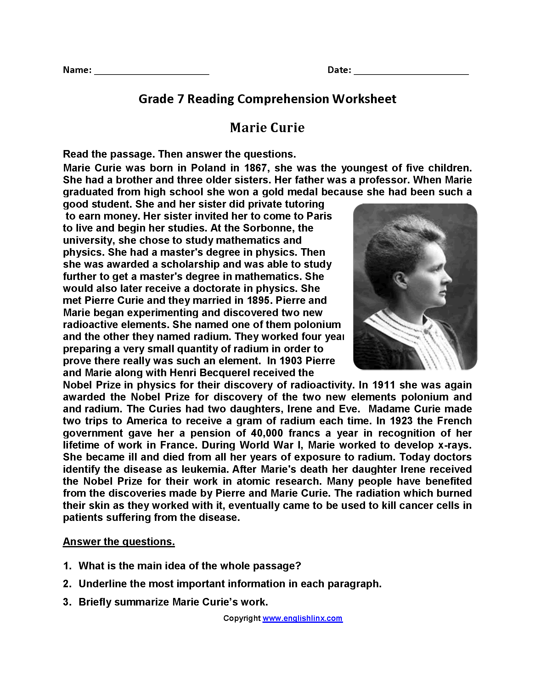 Marie Curie\u003cbr\u003eSeventh Grade Reading Worksheets   Reading comprehension  worksheets [ 2200 x 1700 Pixel ]