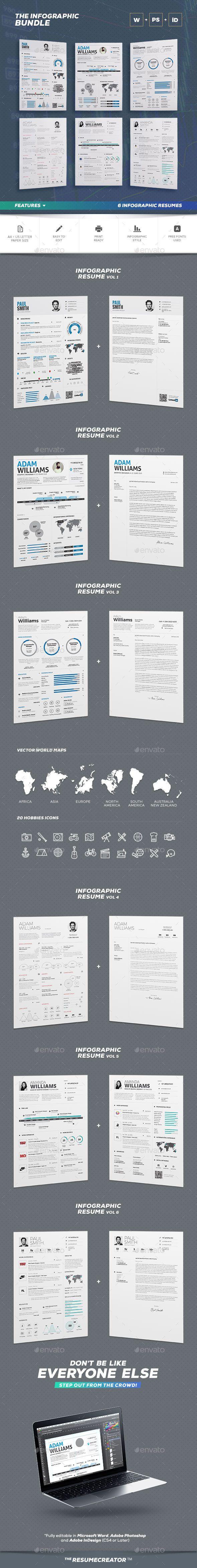 Infographic Resume Bundle | Plantilla cv y Plantas