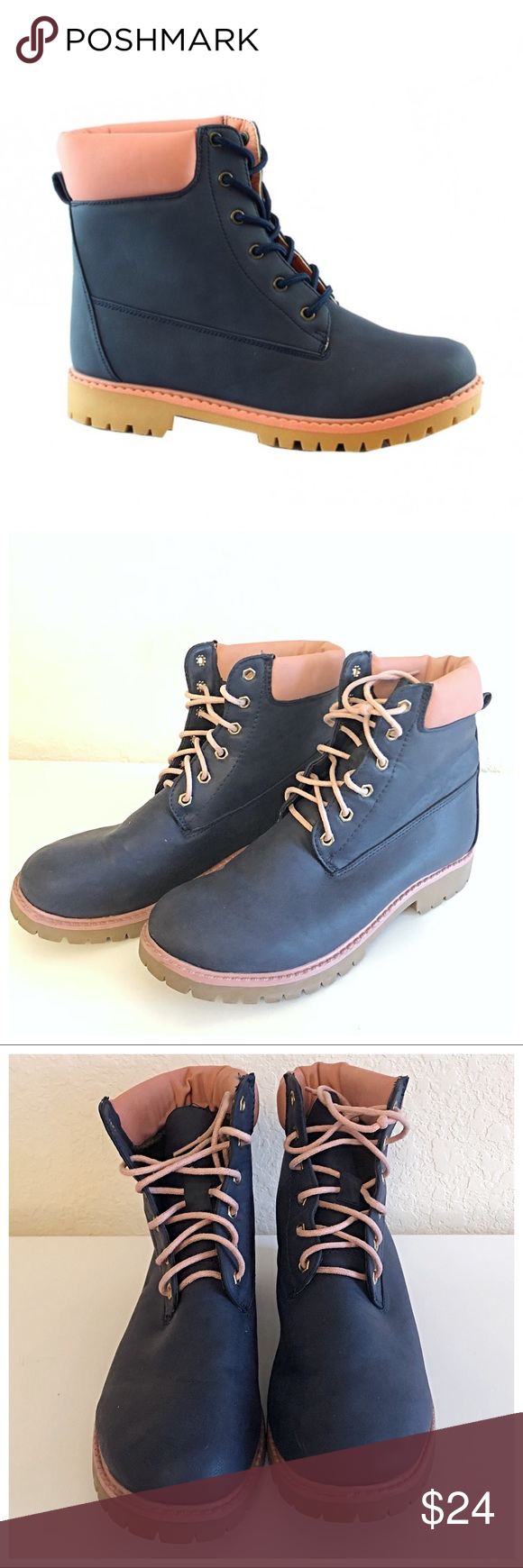 e00866f0de42f Bella Marie Pink and Blue Hiking Boots In good preloved condition. Classic  padded back hiking boot style. Shows small signs of wear.