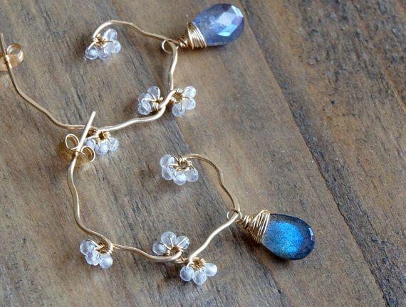 Labradorite Earrings Dangle Hoop Earrings Post Wire by Yukojewelry, $44.50