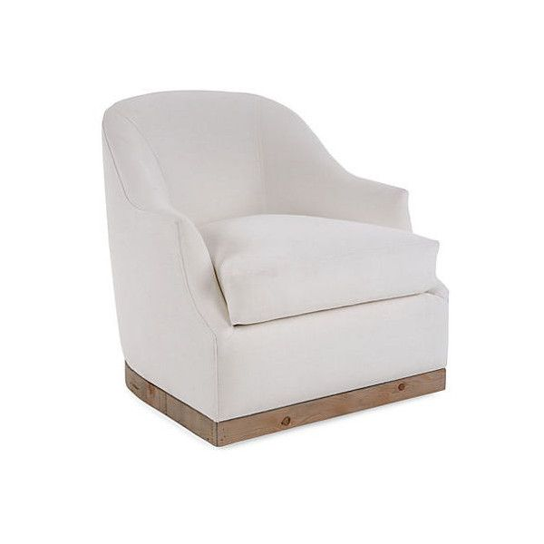 Booker Swivel Chair White Linen Club Chairs ($2,095) Via Polyvore Featuring  Home, Furniture, Chairs, Accent Chairs, Swivel Occasional Chairs, White  Swivel ...