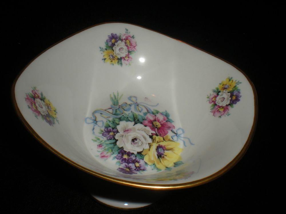 Vintage Limoges France Pedestal/Footed Candy Dish White Rose Design Gold Trim #LimogesFrance :):