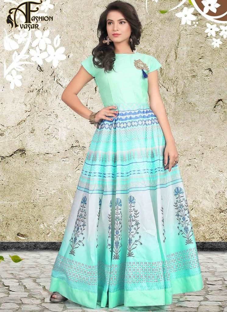Turquoise Evening Gown Online Buy | avasarfashion.com | Pinterest ...