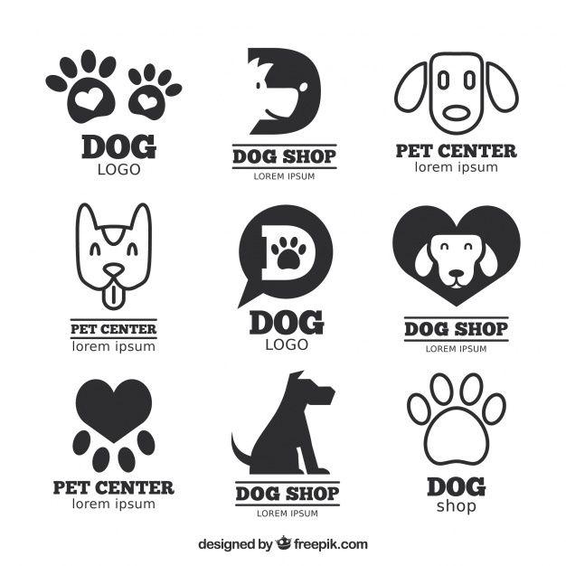 Baixe Grande Pacote De Logos Planas Com Cães E Faixas