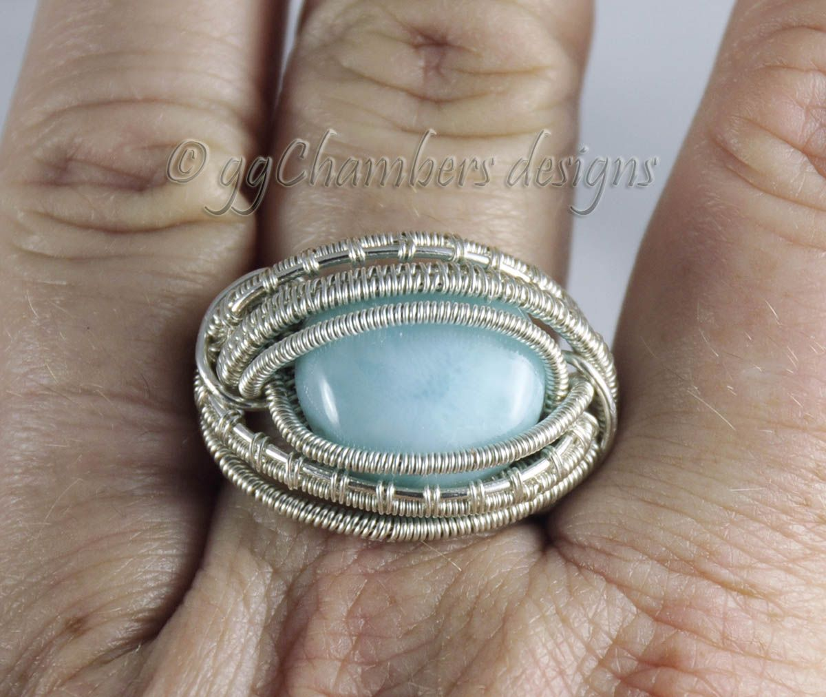 Sterling Silver and Natural Larimar Cabochon Woven Wire Ring ...