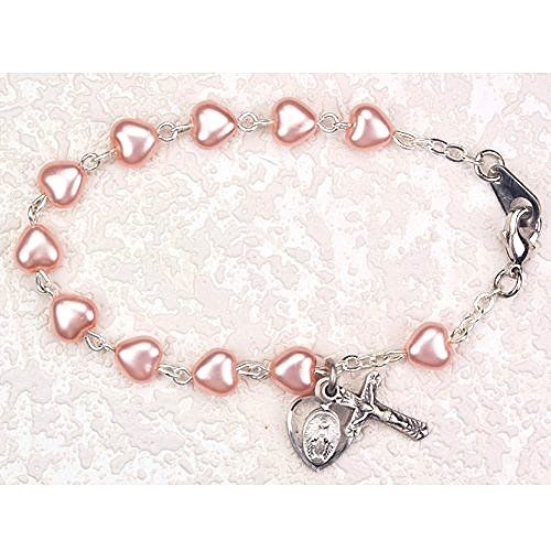 """First Holy Communion Childrens Girls Rosary Bracelet 6 1/2"""" 6x6mm Pink Pearl Heart Beads with Sterling Silver Cross & Miraculous Medals. MV001 http://www.amazon.com/dp/B004IVKIJA/ref=cm_sw_r_pi_dp_tHrnvb12V47ZX"""