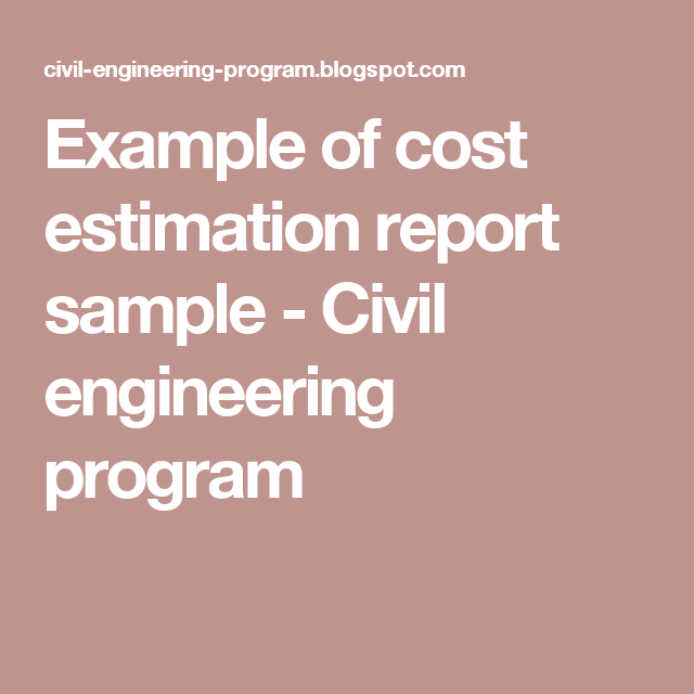 Example Of Cost Estimation Report Sample  Civil Engineering