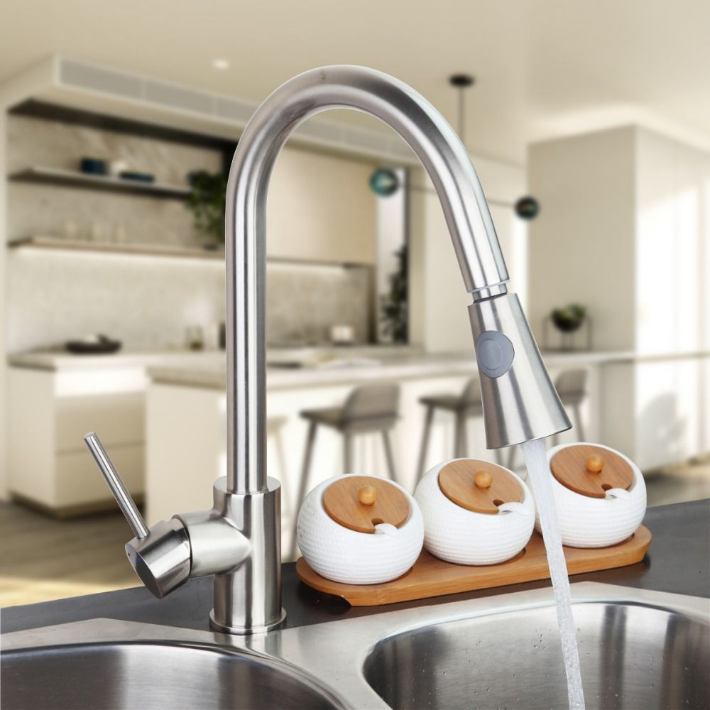 Brushed Nickel Kitchen Faucet Modern Kitchen Mixer Tap Single Enchanting Brushed Nickel Kitchen Faucet Decorating Inspiration