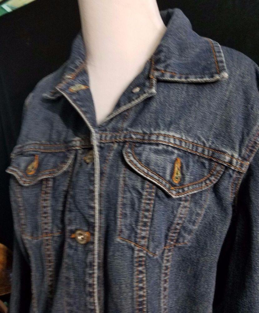 Ed Bauer 100 Cotton Clic Denim Blue Jean Jacket Medium Wpl 9647 Western