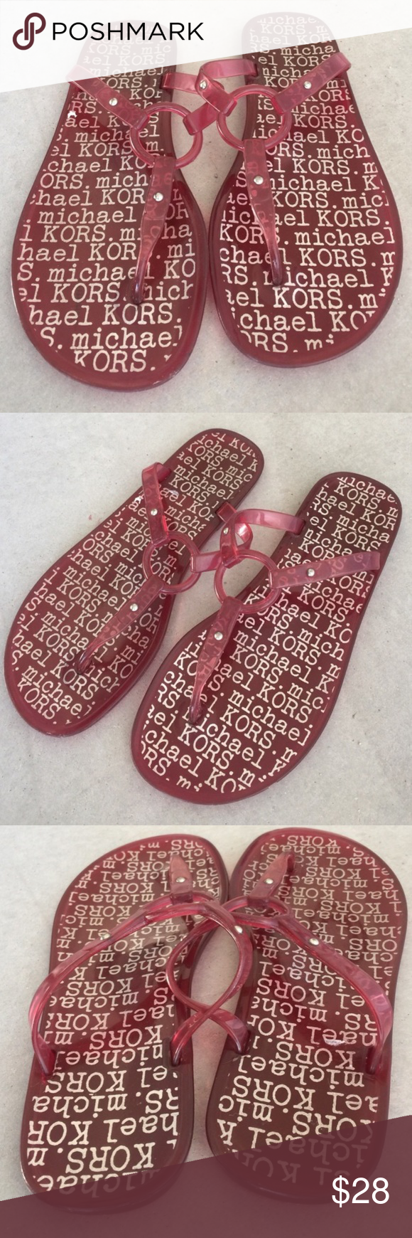 Michael Kors sangria red jelly plastic sandals Gently worn , size 6.5 ,no label with size , can fit 6 & 6.5 , plastic , fun for summer 🌟MAKE A Reasonable OFFER 🌟 Michael Kors Shoes Sandals