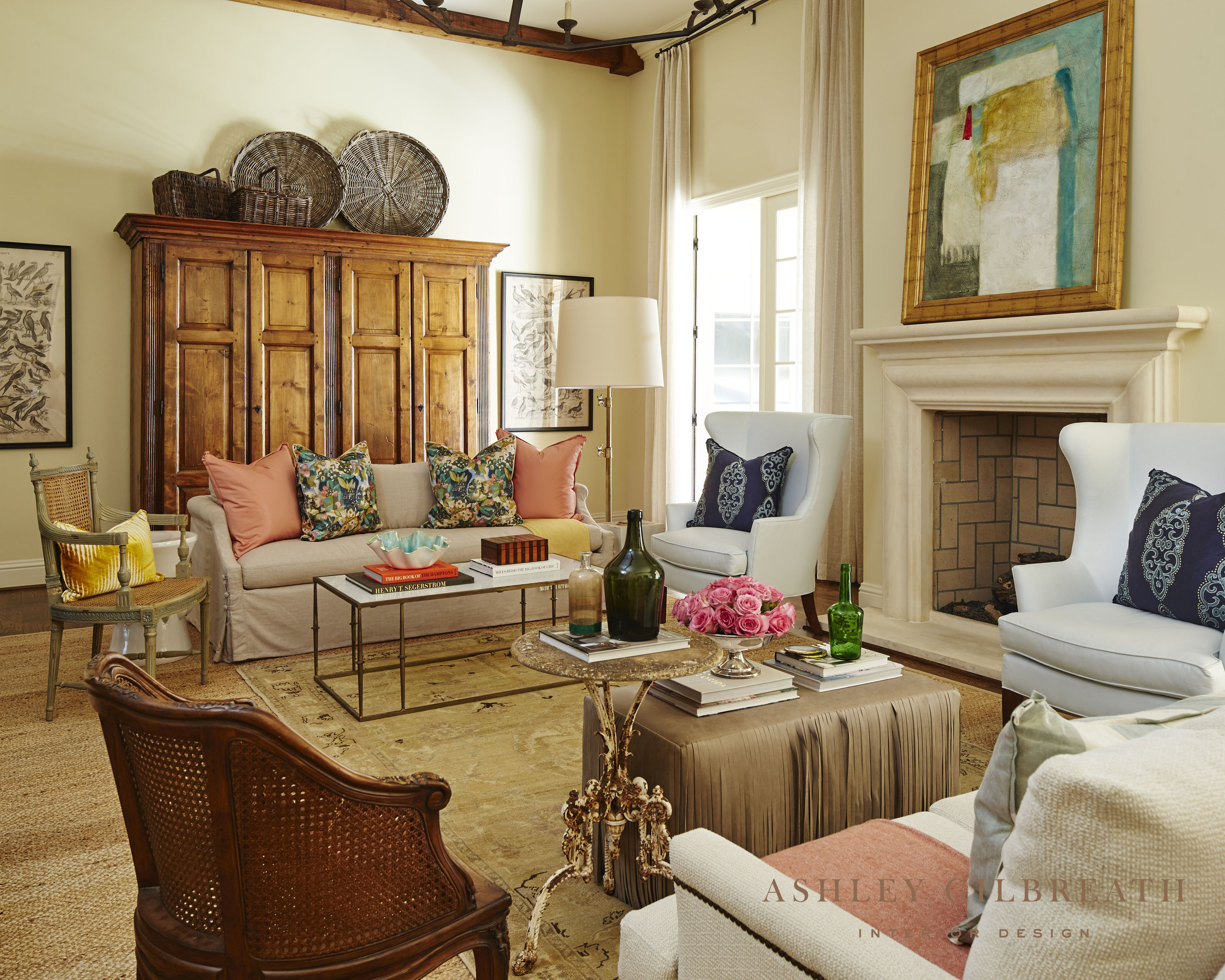 Southern Charm Project Living Room Ashley Gilbreath Interiors Brown Dining Room Set Interior Design Southern living room decor