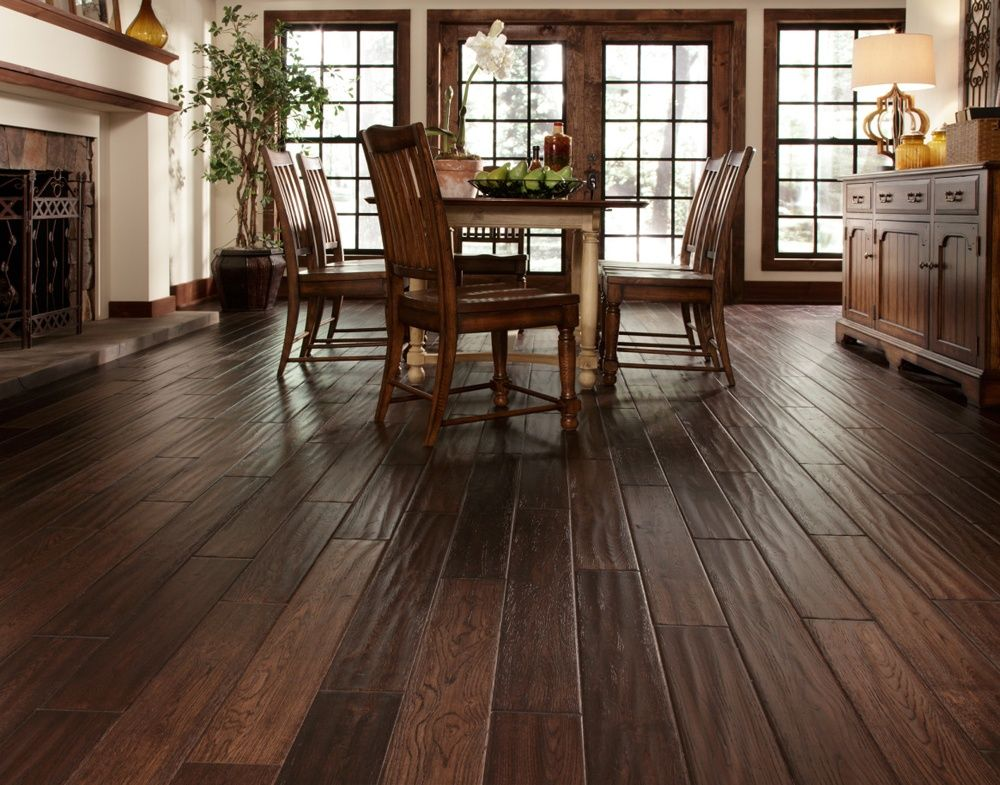 Dining Room With Hand Scraped Hardwood Floor Cheap Wood Flooring