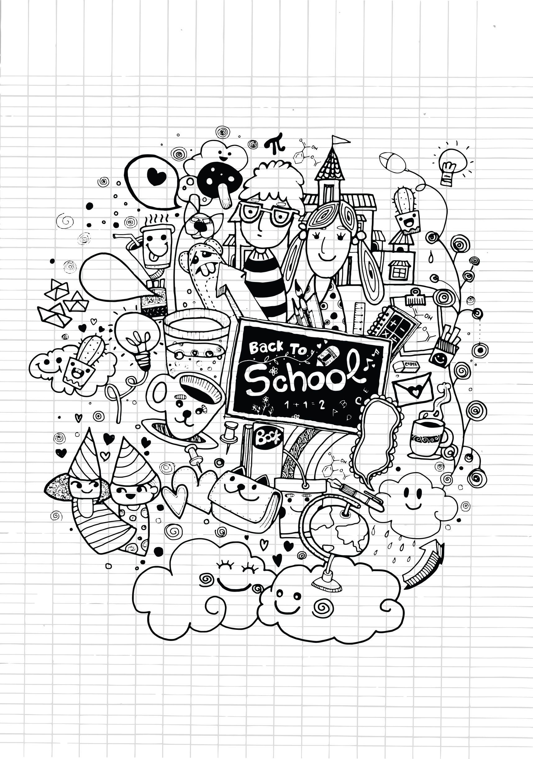 Free Coloring Page Coloring Doodle Back To School By