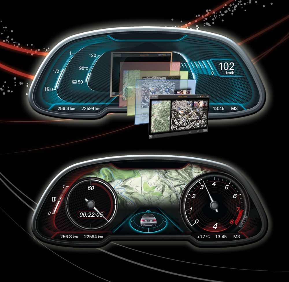 Digital Car Gauges Cluster : Digital cluster gauge automotive interface pinterest