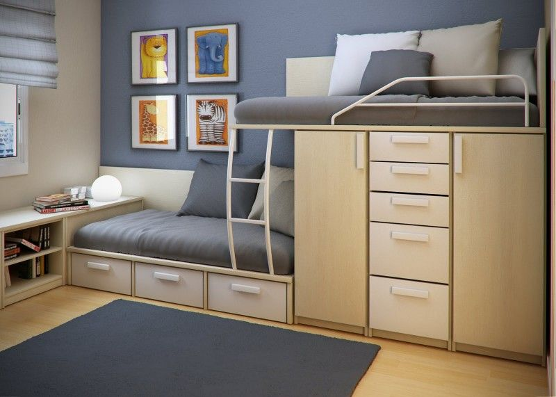 bedroom best design of space saving for small bedroom with brown bunk bed with gray wall and white glass window and blue carpet on brown floor color idea - Small Bedroom Design Ideas