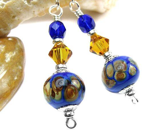 Cobalt Blue Earrings, Sterling Silver, Copper Crystals, Patterned Lampwork Beads, Earthy Elegance, Bohemian Jewelry Handmade OOAK