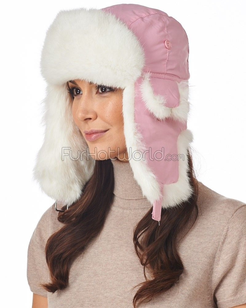 0c39f13cc81d4 Pink Taslon Trapper with White Rabbit Fur  FurHatWorld.com