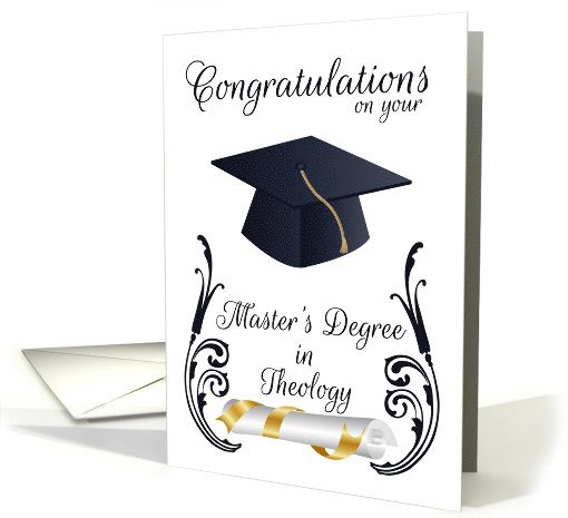 Master S Degree In Theology Congratulations Mortar Board And Swirls Card Degree Card Congratulations Card Grad Cards