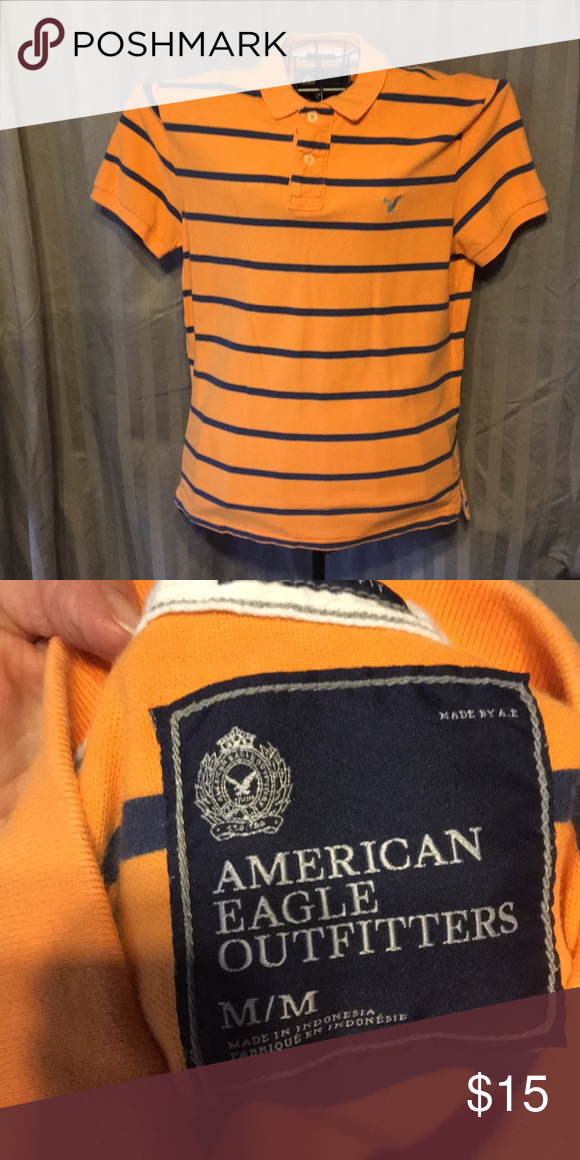 dc5f409df Young mans polo shirt A E Orange with blue stripes polo shirt American Eagle  Outfitters Shirts   Tops Polos