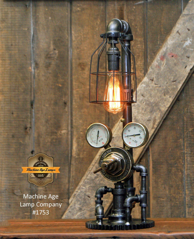 Steampunk Industrial Lamp / Antique Welding Regulator / Lamp