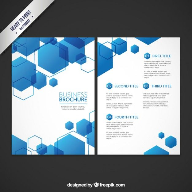 Business Brochure Template With Blue Hexagons Free Vector Resume