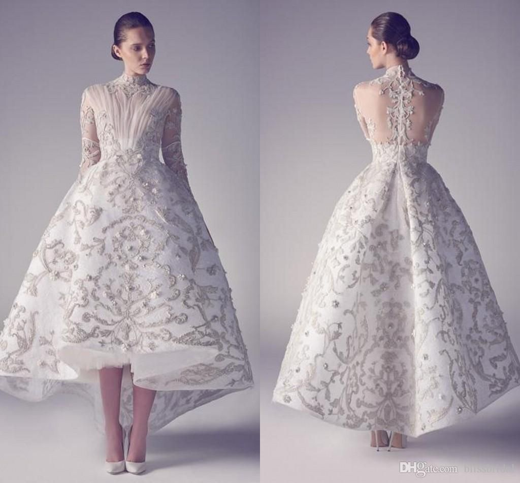 Luxury White Evening Dresses Embroidery Appliques High Low Vintage