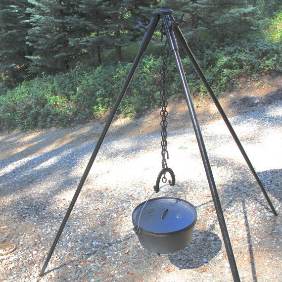 Tripod Campfire Stand Extra Heavy Duty Wide Stance Grill Cook Over Multi Fuel Fire Pit Made To Order Fire Pit Cooking Fire Pit Fire Pit Grill